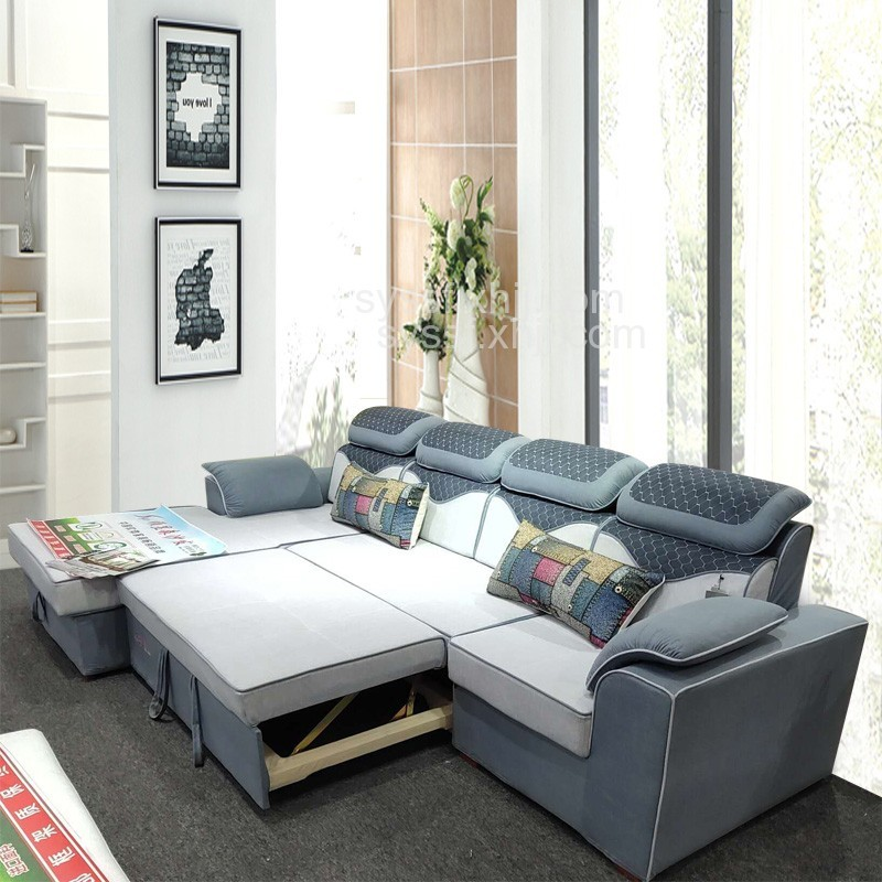 餐厅极简转角推拉布艺多功能沙发哪家质量好成都顺昱森生产厂家