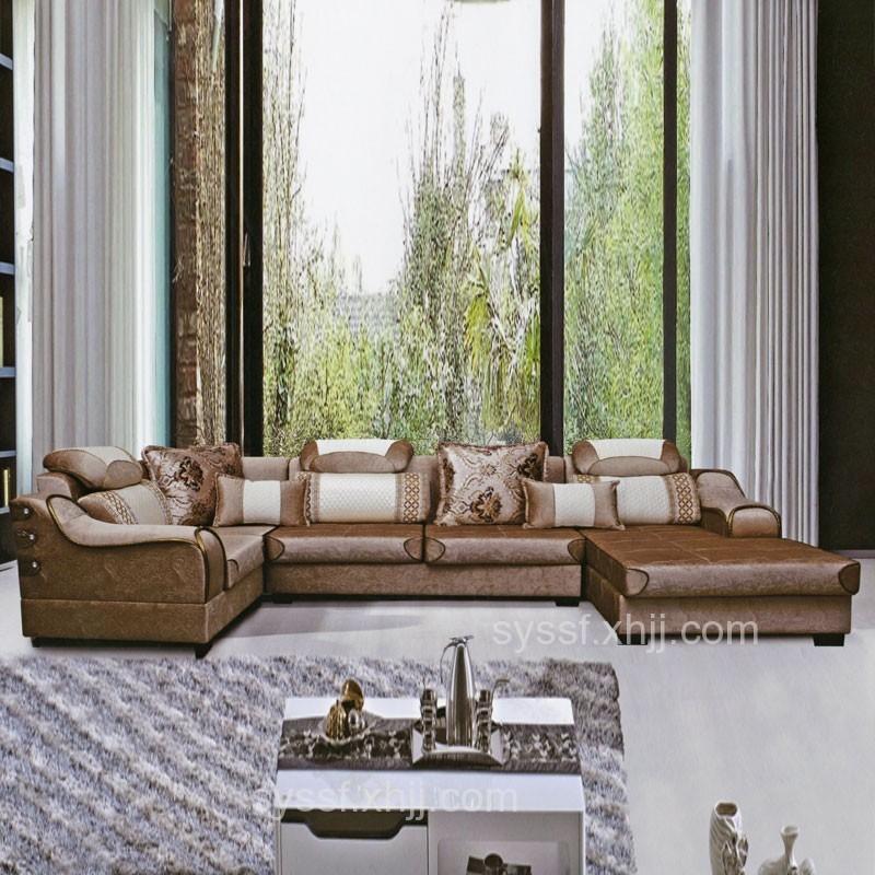 香河买新古典轻奢风转角皮质沙发首选成都顺昱森多功能沙发