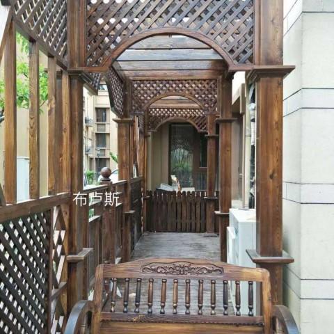 香河碳化木长廊葡萄架凉亭防腐木桌椅走廊花架室外地板围栏 (3播放)