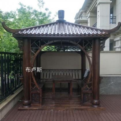 香河布卢斯户外四角凉亭简易中式亭子图片碳化木松木全实木厂家
