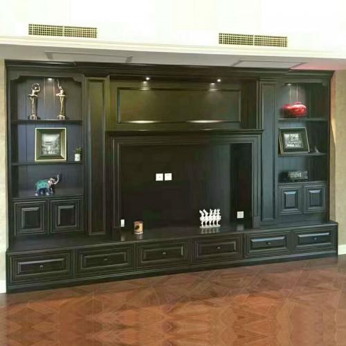 客厅定制背景柜做旧电视柜17