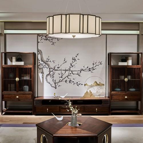 实木中式客厅视听柜储