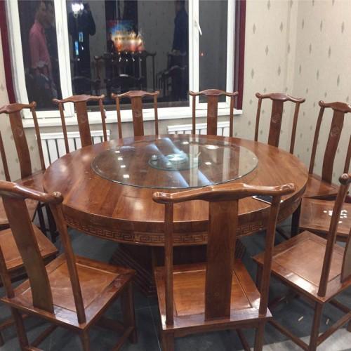 中式大圆桌酒店餐厅餐桌椅202