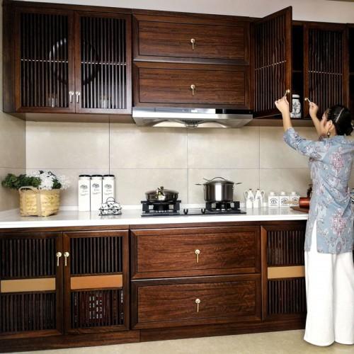 新中式实木厨房橱柜定制家具01