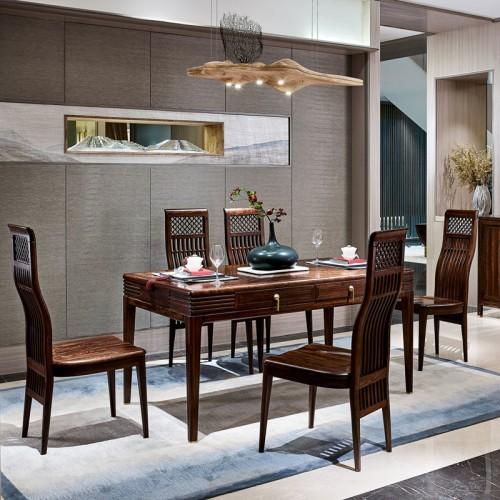 新中式全实木餐桌椅套装HT09004-15