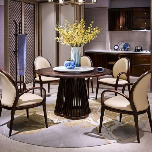 新中式禅意实木圆形转盘餐桌套装HT09010