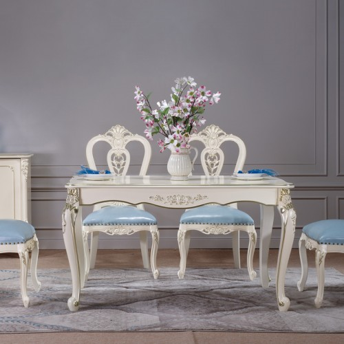 欧式餐桌椅描金雕花长桌702