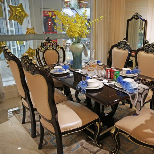 欧式新古典雕花餐桌餐