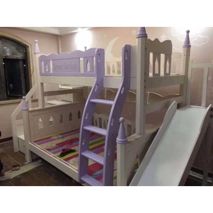 滑梯子母床木蜡油子母