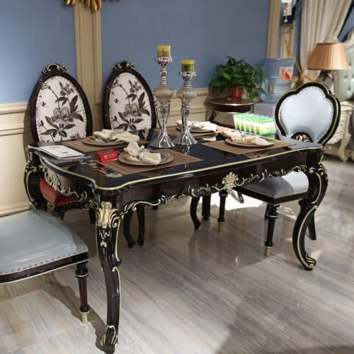 新古典餐厅描金餐桌餐