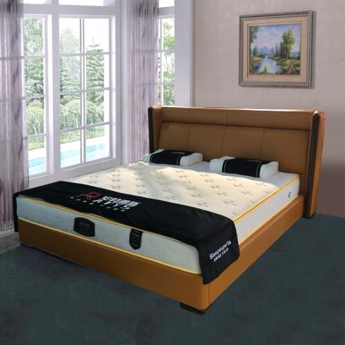 小户型双人床卧室真皮床55-18