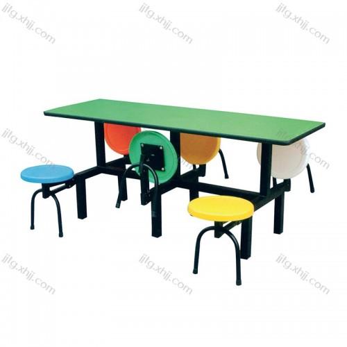 连体餐桌椅食堂圆凳餐桌CZY-04