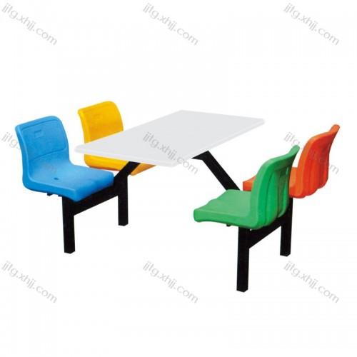 四人靠背连体餐椅食堂专用餐桌椅CZY-03