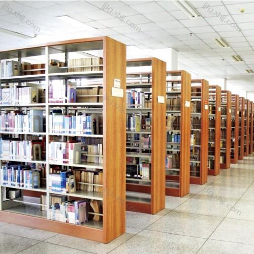 大学图书馆钢木书架双