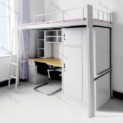 学生公寓床员工宿舍连体带书桌双层床GYC-03