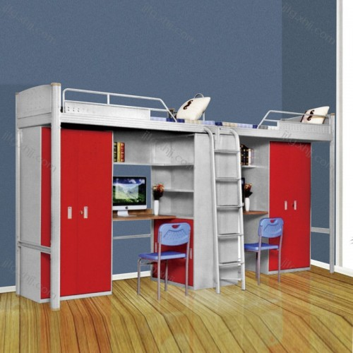 大学生公寓床上床下桌组合带衣柜书桌GYC-01