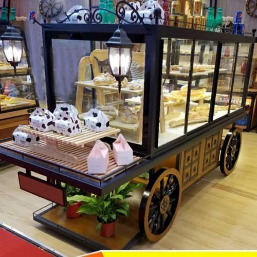 香河铁艺马车面包展示柜 烤漆饼干面包柜架01