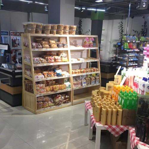 梯形多层零食展示柜 饼干面包柜架02