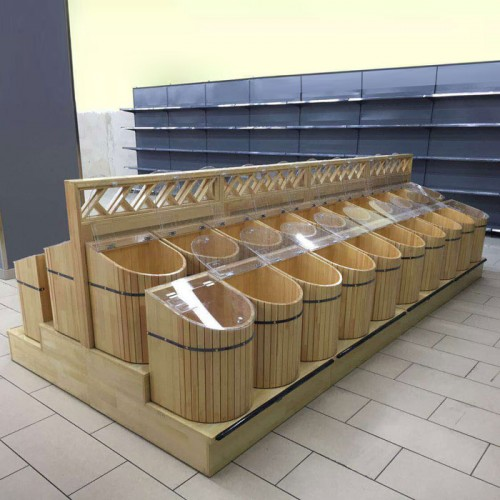 天津木质米桶货架价格  粮食架米斗五谷杂粮架批发01