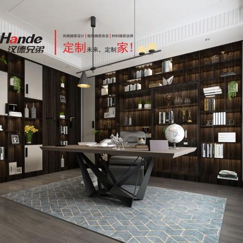 高端轻奢书房全屋定制 北京汉德书房设计效果图01