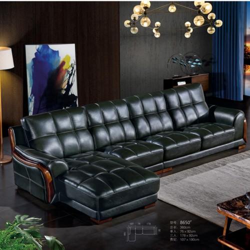 高端时尚真皮转角沙发品牌厂家8650