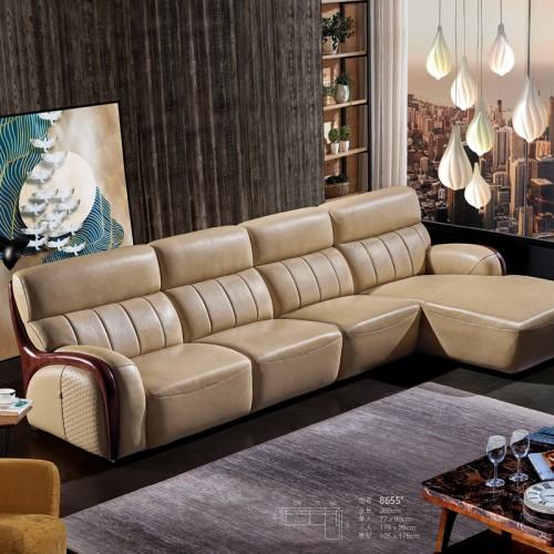 现代真皮沙发品牌  客厅大户型沙发定制8655