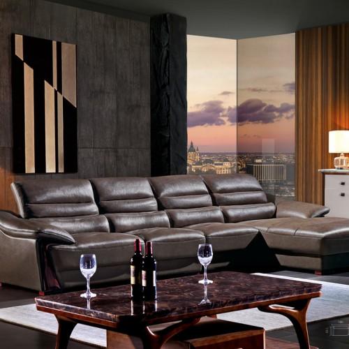 现代极简真皮沙发 时尚简约转角沙发组合1809