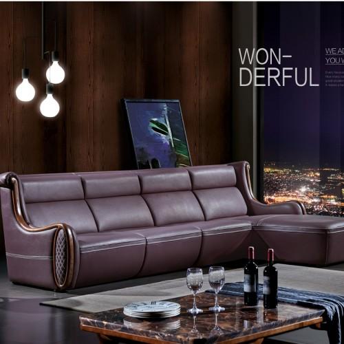 现代简约沙发品牌 皮艺休闲沙发采购9002