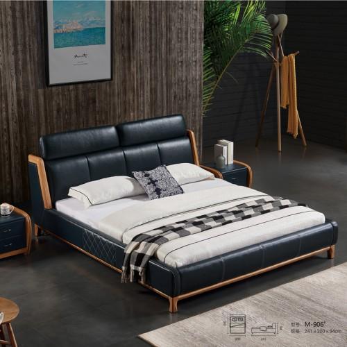 厂家销售北欧白蜡双人床  真皮床价格M-906