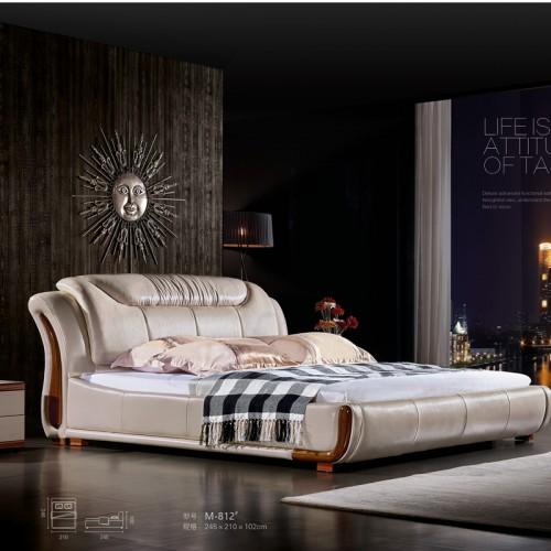 时尚软床定制 卧室真皮软床批发厂家M-812