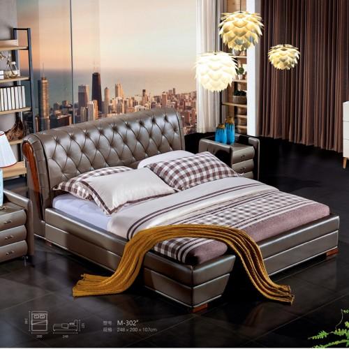 简约现代双人床卧室真皮大床定制M-302