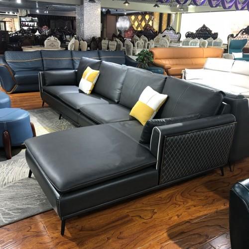 后现代真皮沙发轻奢客厅整装转角沙发05