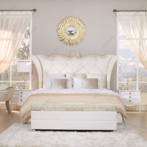 时尚轻奢双人床扇形软包床头双人床简约香槟金客厅茶几时尚轻奢茶几_MG_2172