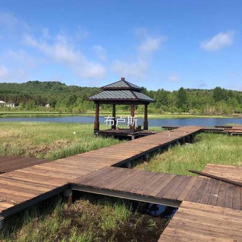 香河布卢斯户外四角双层凉亭地板实木围栏庭院设计厂家