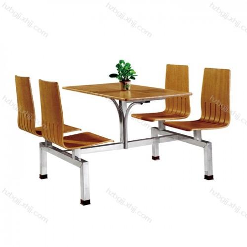 快餐餐厅连体桌椅 不锈钢定制餐桌03#
