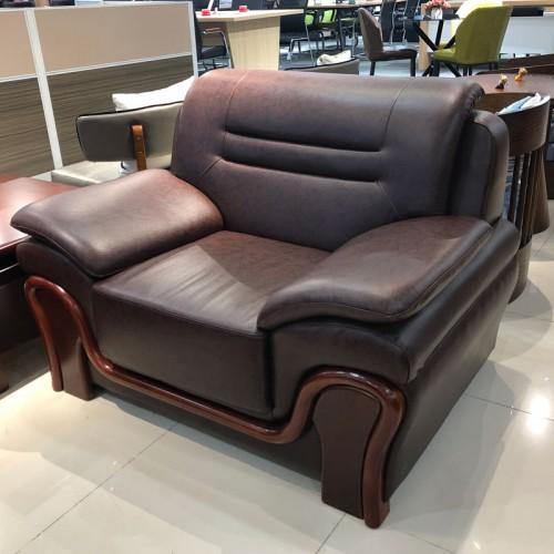 香河办公会客真皮沙发 实木框架单人位沙发02#