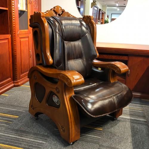 香河真皮老板班椅 办公室实木座椅01#