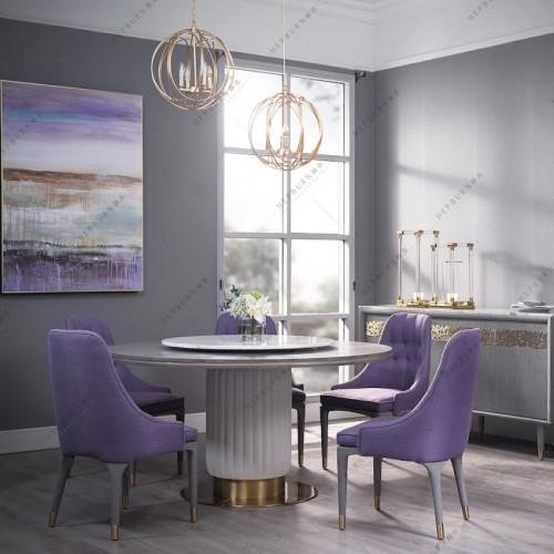 轻奢时尚理石面圆餐台紫色时尚餐椅_MG_7475