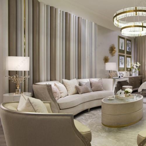 轻奢时尚弧形布艺沙发极简布艺沙发椭圆形茶几_DS6819