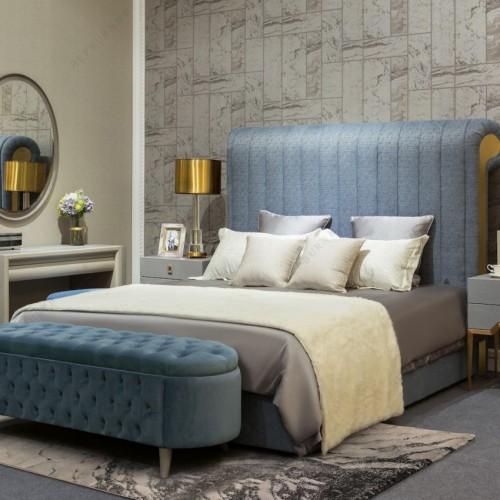 轻奢时尚蓝色卧室套房意式极简蓝色双人床梳妆台_JIN_0547-2