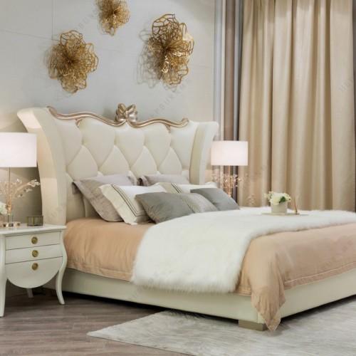 时尚轻奢浅色系双人床意式极简浅色软包双人床_JIN_9393