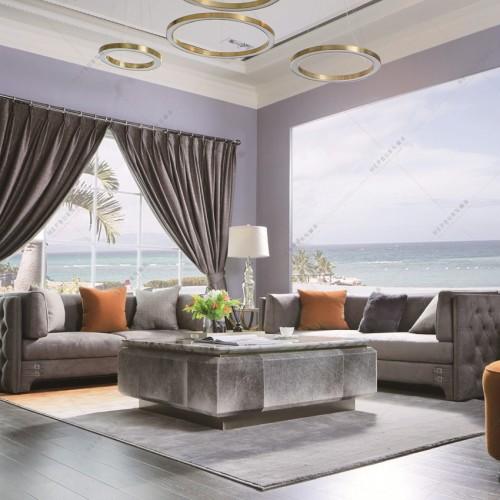 时尚轻奢客厅沙发高端大气灰色客厅沙发_赫本-2188