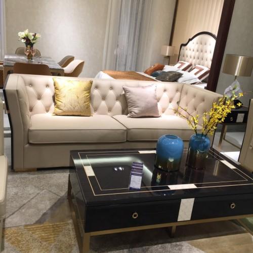 轻奢时尚软皮三人位沙发意式极简客厅沙发茶几组合_沙发Z525SF