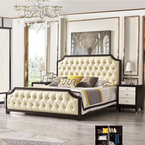 高档真皮靠背软床 现代风格卧室套房家具 MK-801