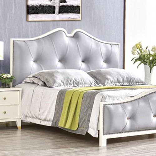 北欧套房家具 简约真皮双人床 床头柜 MK-802