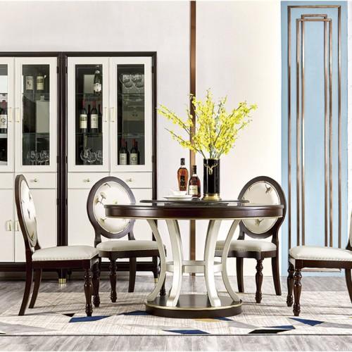 简美餐厅家具 圆形可旋转餐桌 餐椅 MK-833