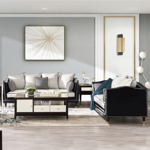 别墅客厅组合沙发皮布沙发厂家   休斯顿