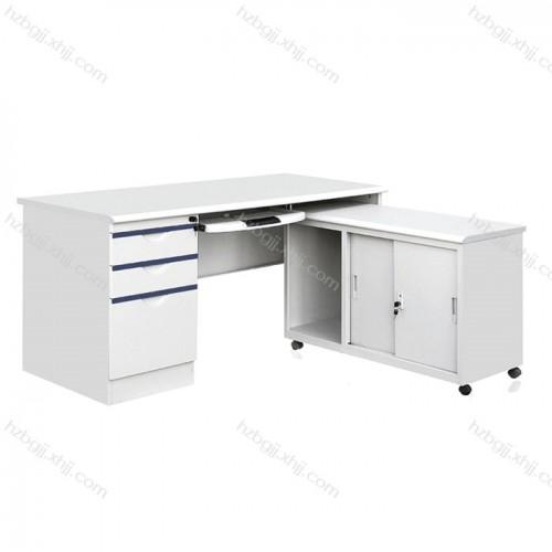 L型带附台钢制办公桌 防火板铁皮电脑桌14#