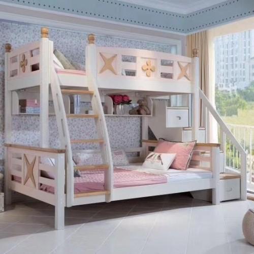 女孩粉色上下铺实木女童子母床_03|