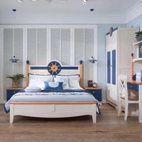 儿童地中海风格单人床男童蓝色实木单人床+双开门衣柜+学习桌_04|